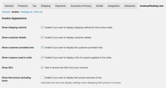 WooCommerce Print Invoices / Packing Lists Invoices settings
