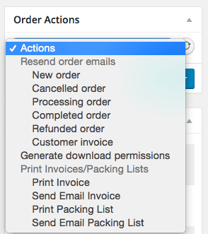 WooCommerce Print Invoices / Packing Lists edit order actions