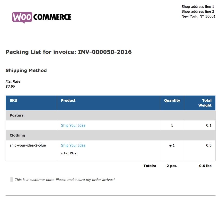 WooCommerce Print Invoices / Packing Lists Sample Packing List