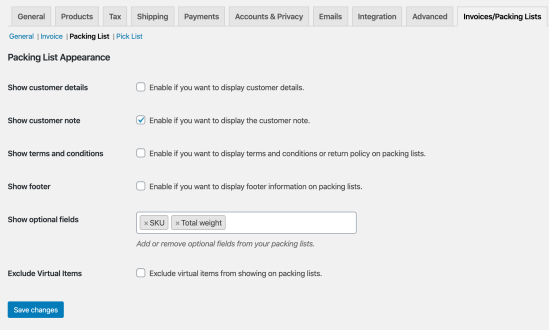WooCommerce Print Invoices / Packing Lists: Packing List Settings