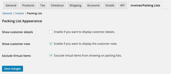 WooCommerce Imprimir facturas / Listas de embalaje Configuración de la lista de embalaje