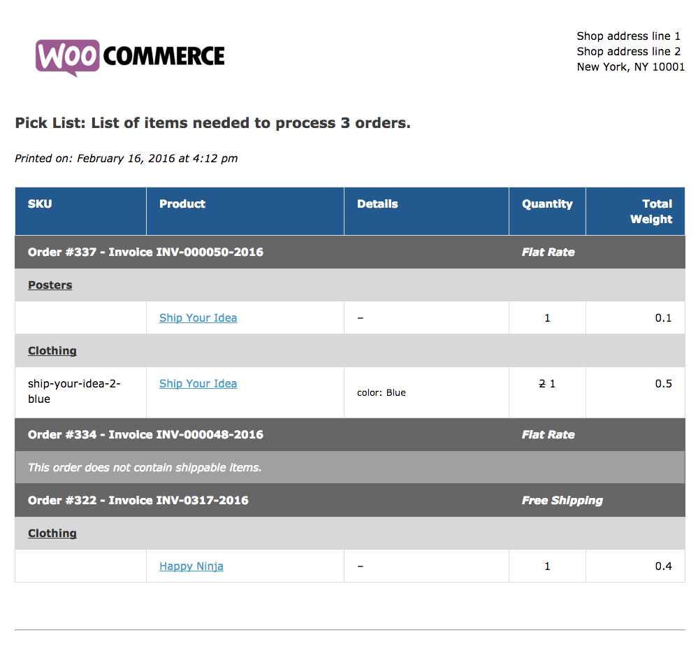 WooCommerce Print Invoices / Packing Lists Sample Pick List