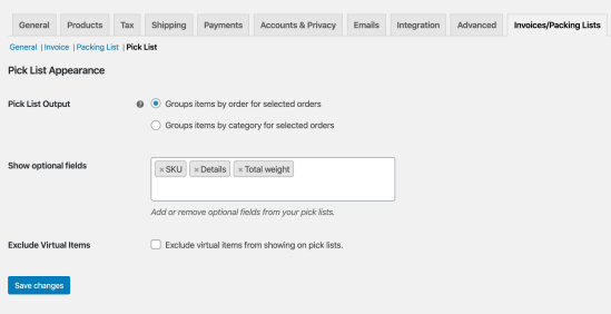WooCommerce Print Invoices / Packing Lists: Pick List Settings