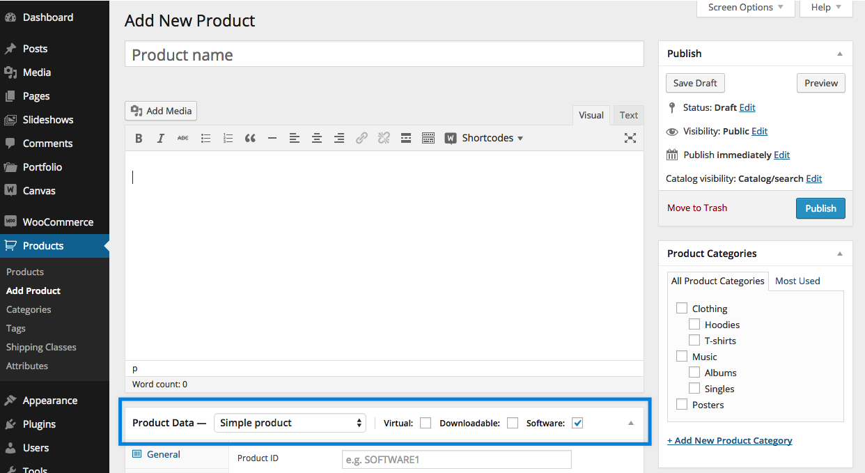 When This Product Type Is Selected A New Tab Called Software Opens In Product Data Meta Box Menu