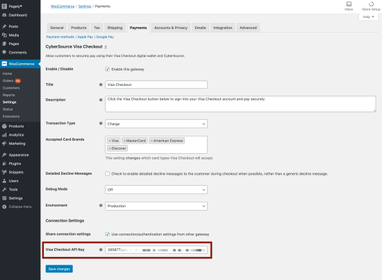 Adding the Visa Checkout API key to the CyberSource plugin settings.