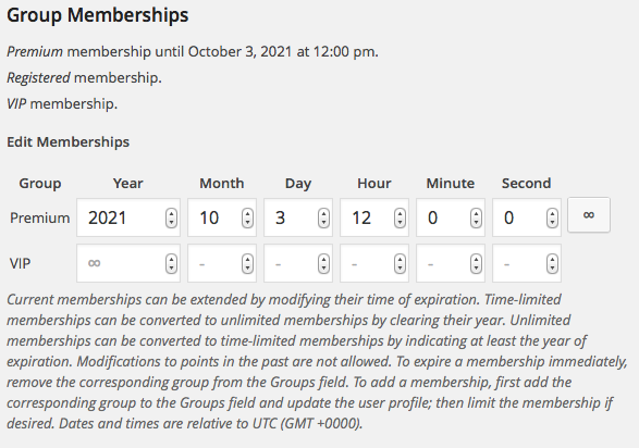User Profile Memberships Varied