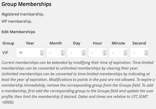 User Profile Memberships