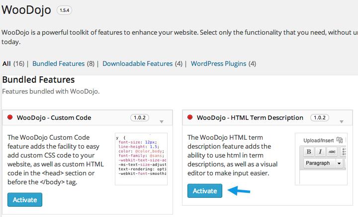 WooDojo Activate HTML Term Description