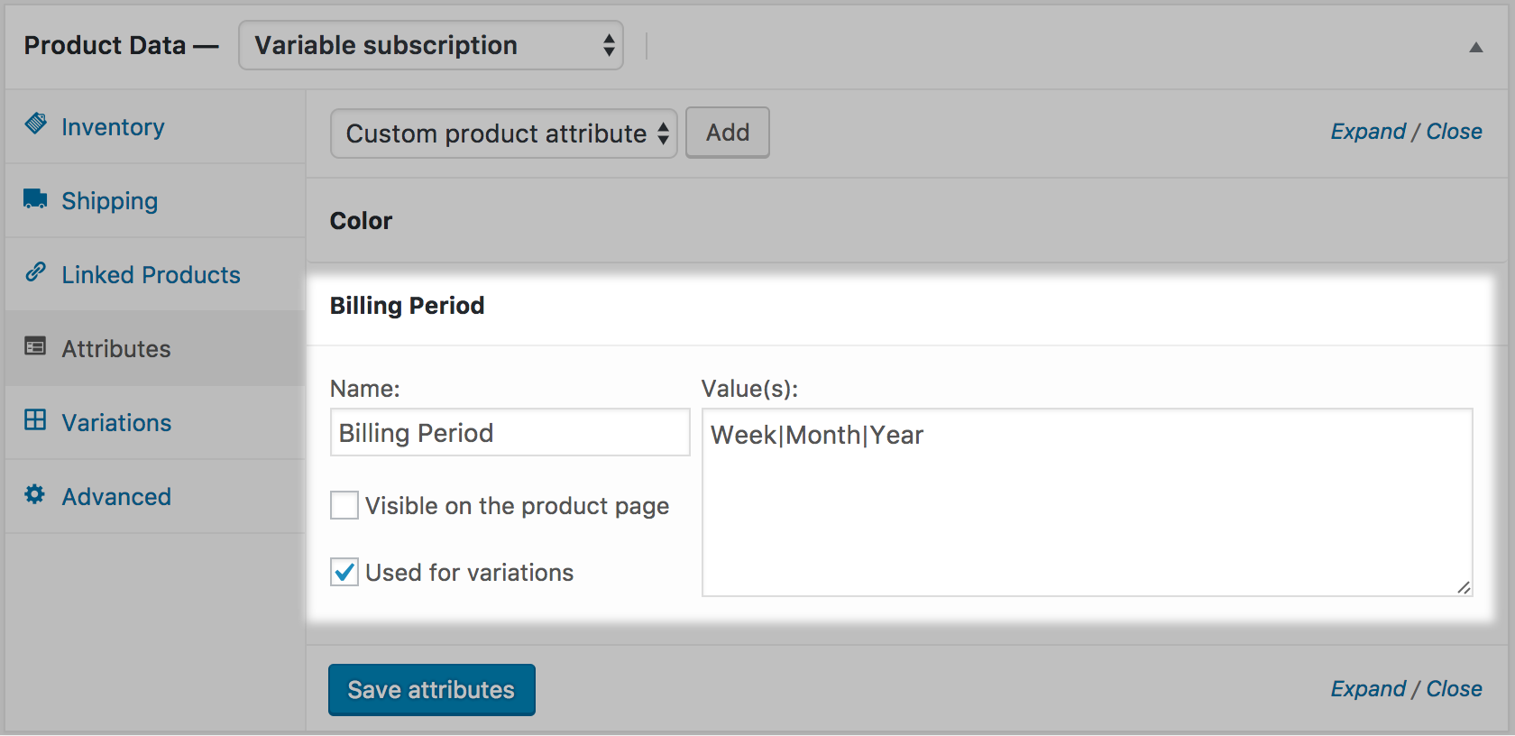 "A ""Billing Period"" Attribute with Week/Month/Year Values"