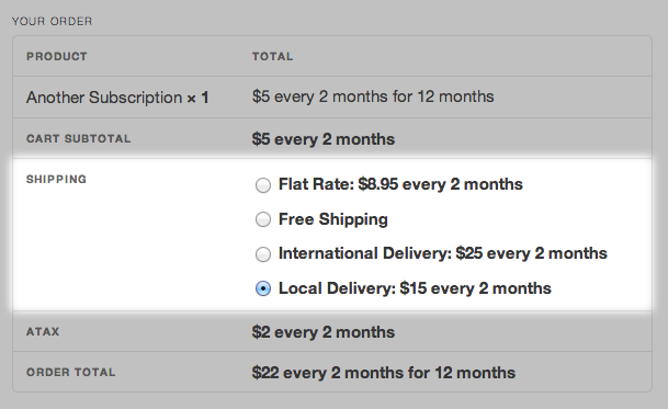 Subscription Shipping Methods