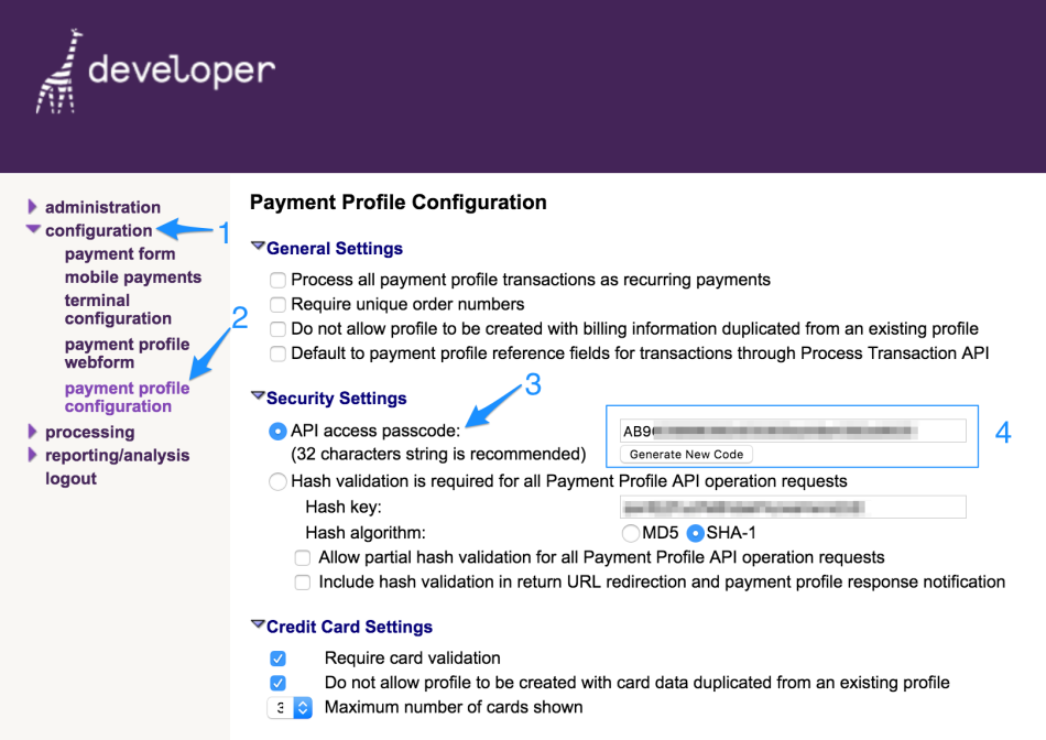WooCommerce Bambora API passcode settings