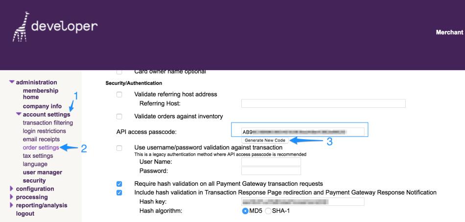 WooCommerce Bambora generate API passcode
