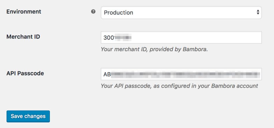 WooCommerce Bambora connection settings