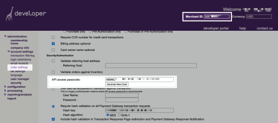 Finding your Merchant ID and API Passcode in your Bambora account.