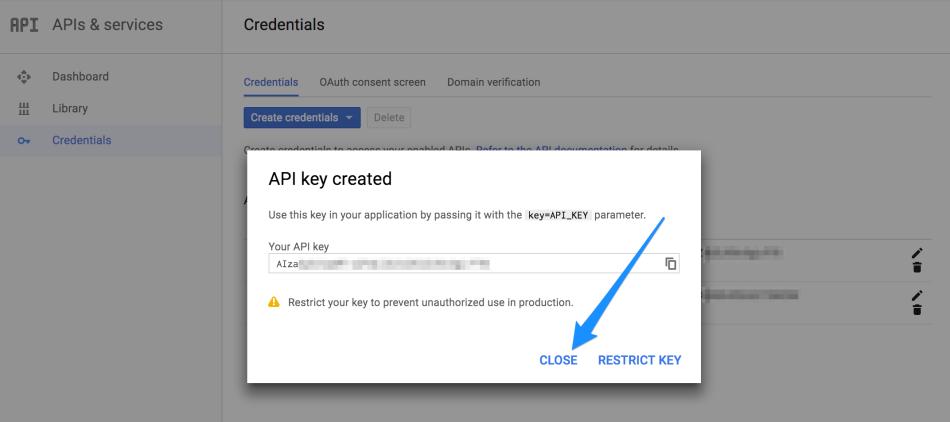 WooCommerce Local Pickup Plus API key created