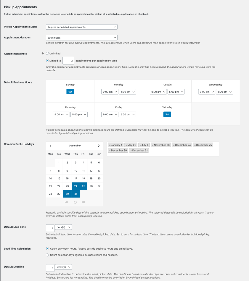 WooCommerce Local Pickup Plus pickup appointments settings