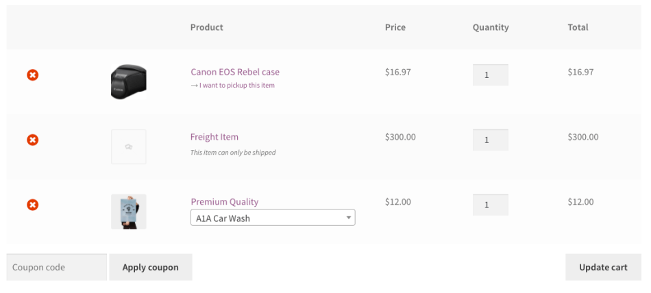WooCommerce Local Pickup Plus cart