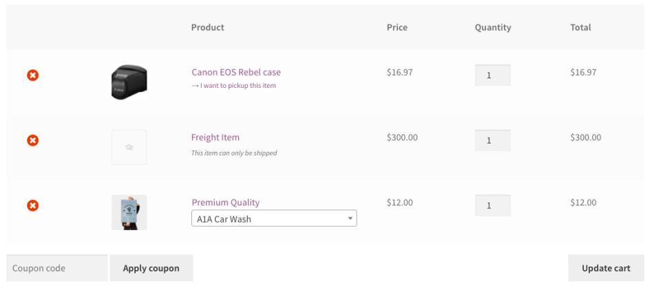 WooCommerce Local Pickup Plus cart
