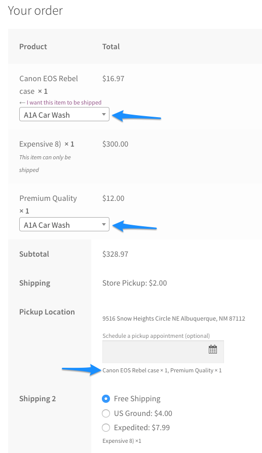 WooCommerce Local Pickup Plus checkout pickup selector