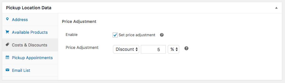 WooCommerce Local Pickup Plus location Price Adjustment