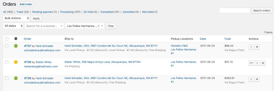 WooCommerce Local Pickup Plus filter orders