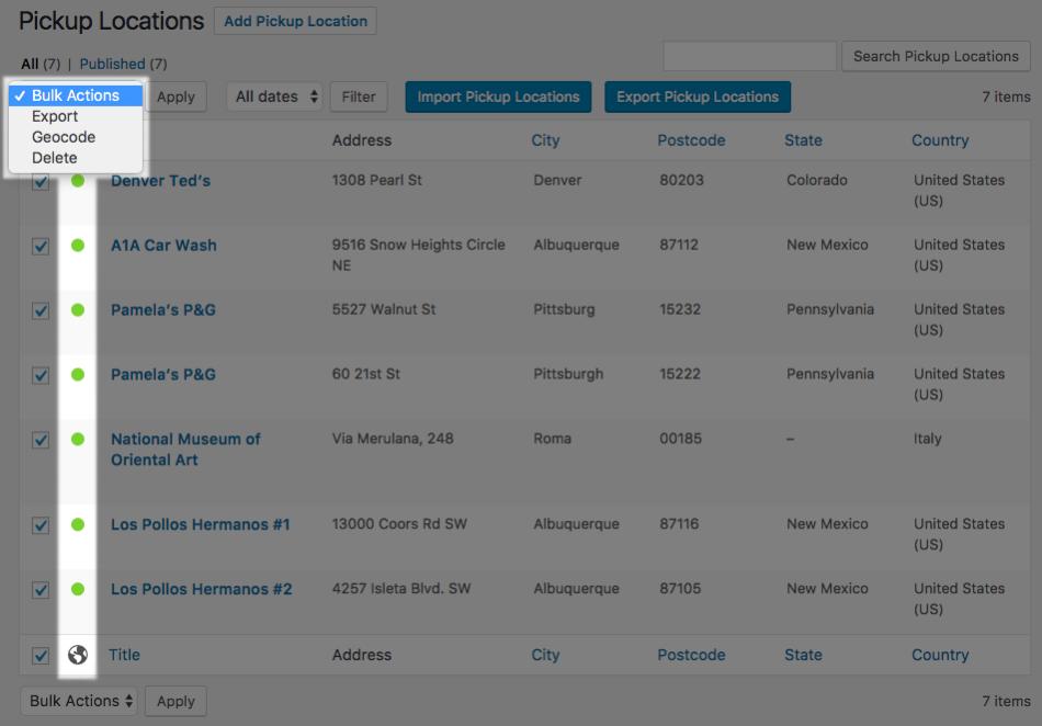 WooCommerce Local Pickup Plus Geocode bulk action