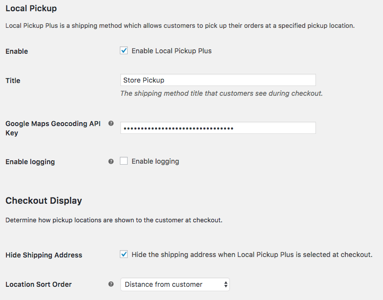 WooCommerce Local Pickup Plus Geocoding Settings