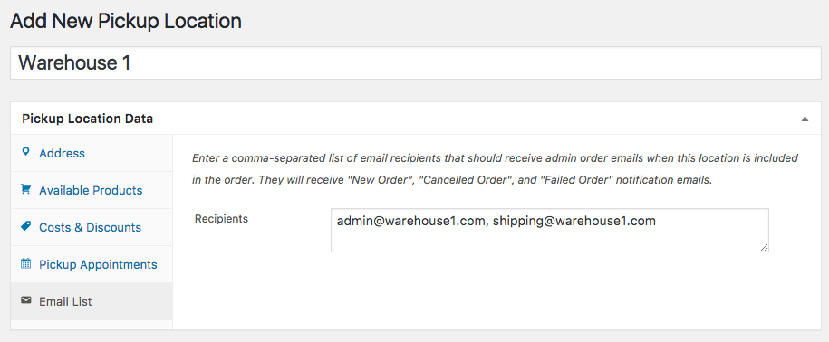 WooCommerce Local Pickup Plus location email list
