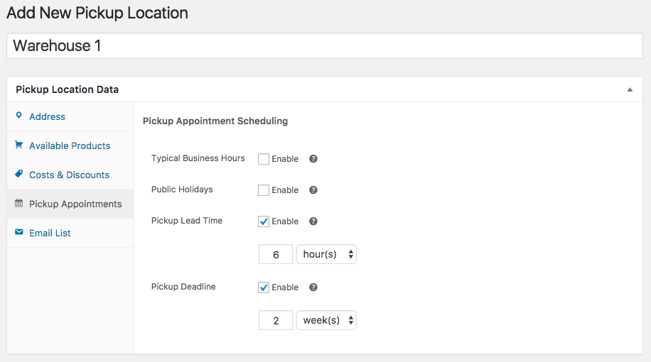 WooCommerce Local Pickup Plus Location pickup appointments