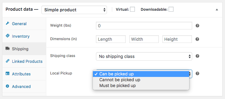WooCommerce Local Pickup Plus product pickup availability