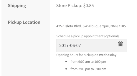 WooCommerce Local Pickup Plus location appointment