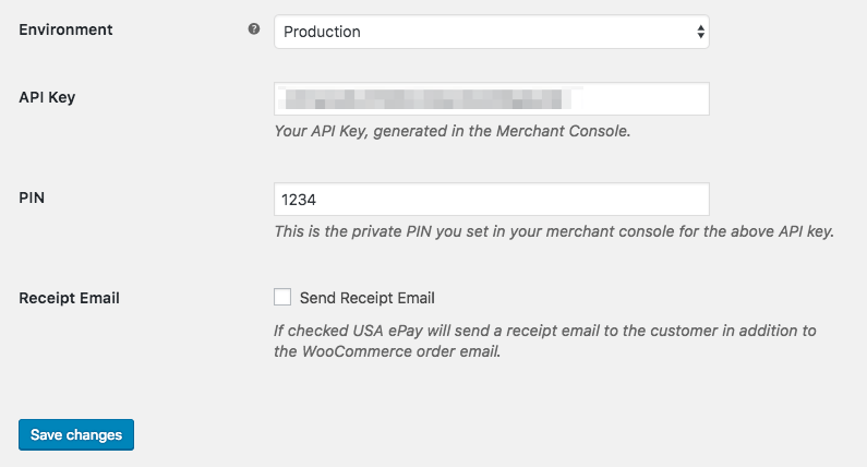 WooCommerce USA ePay: connection settings