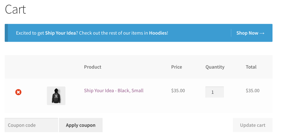 WooCommerce cart notices - category in cart example 1