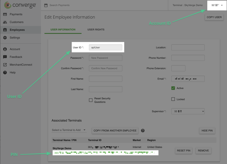 Detailing where to find the credentials within the Converge Pay Account