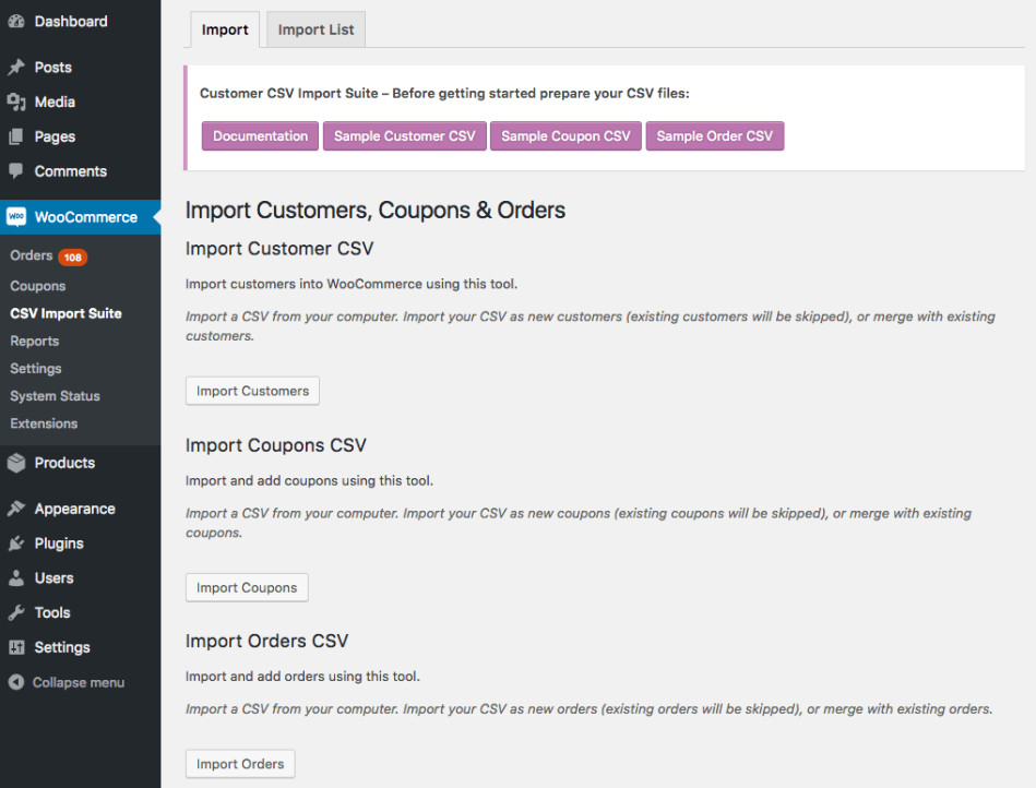 WooCommerce Customer / Coupon / Order CSV Import Suite choose type