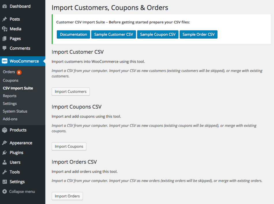 WooCommerce Customer / Coupon / Order CSV Import: Select import type