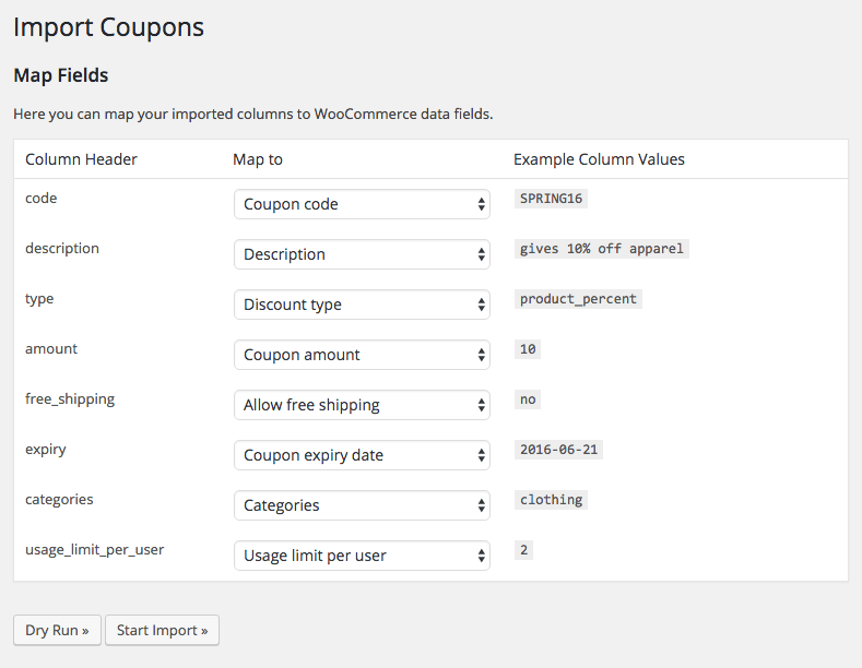 WooCommerce Customer / coupon / Order CSV Import: coupon import mapping