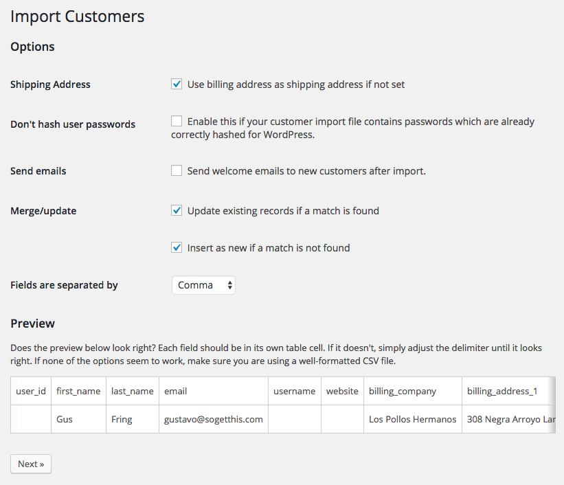 WooCommerce Customer / coupon / Order CSV Import: customer import options