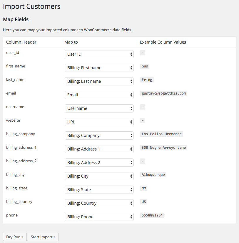 WooCommerce Customer / coupon / Order CSV Import: map import columns