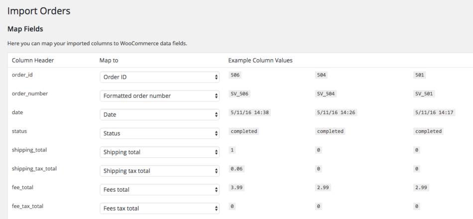 WooCommerce Customer / coupon / Order CSV Import: order import mapping