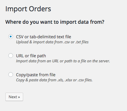 WooCommerce Customer / coupon / Order CSV Import: Select import source