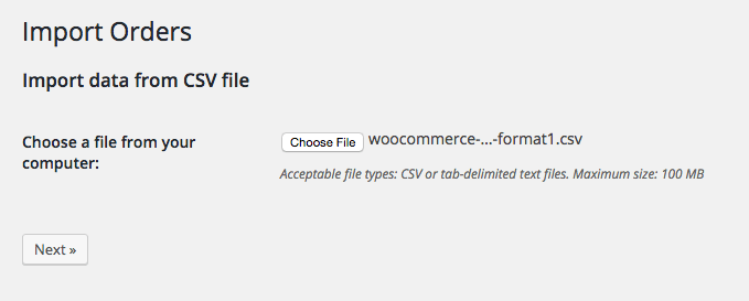 WooCommerce Customer / coupon / Order CSV Import: Select import file