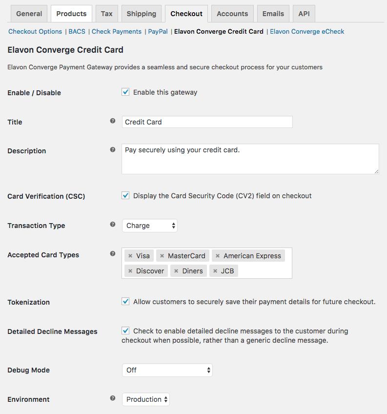 WooCommerce Elavon Converge Credit Card Settings