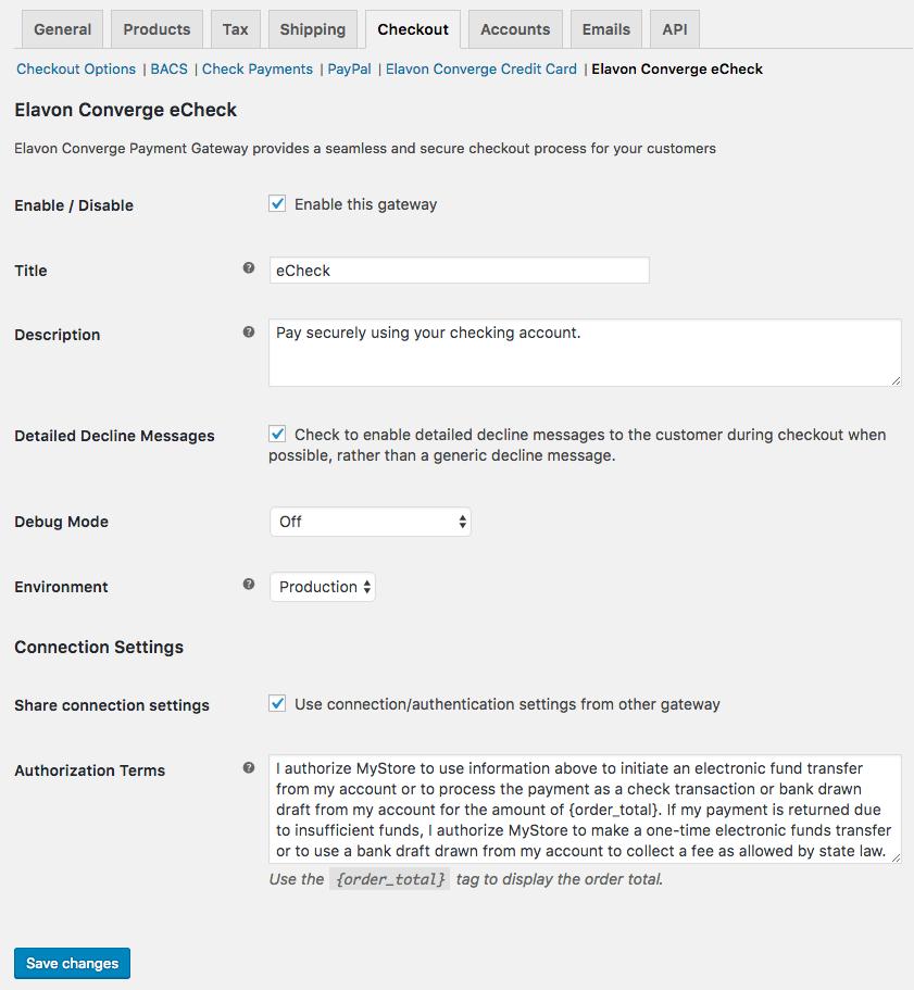 WooCommerce Elavon Converge eCheck Settings