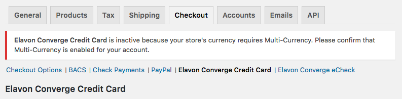 WooCommerce Elavon Converge Multi-Currency Required