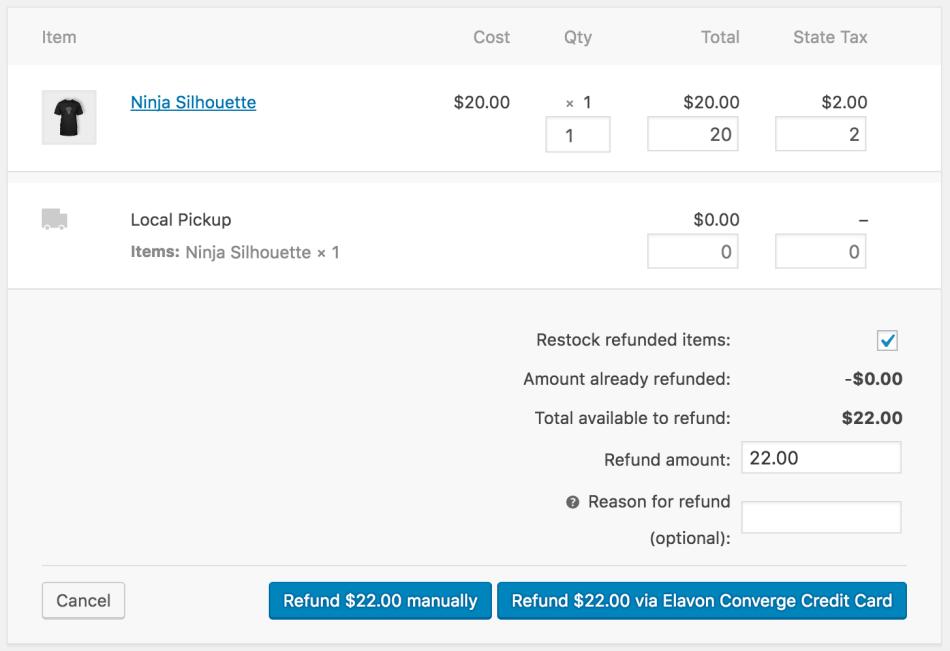 WooCommerce Elavon Converge Refund