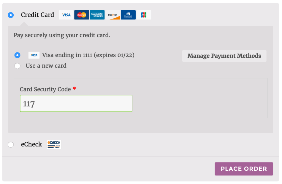 WooCommerce Elavon Converge Use Saved Card