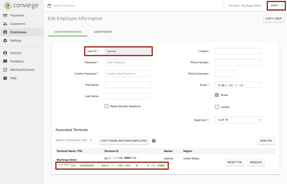 Finding credentials required for plugin in Elavon control panel.