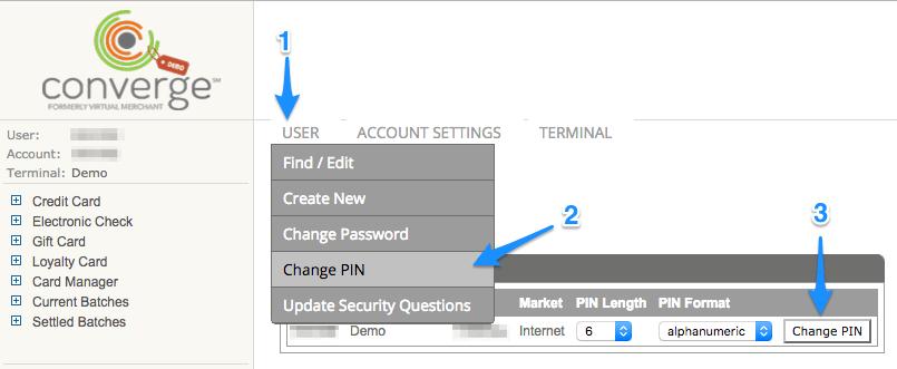 WooCommerce Elavon change account PIN