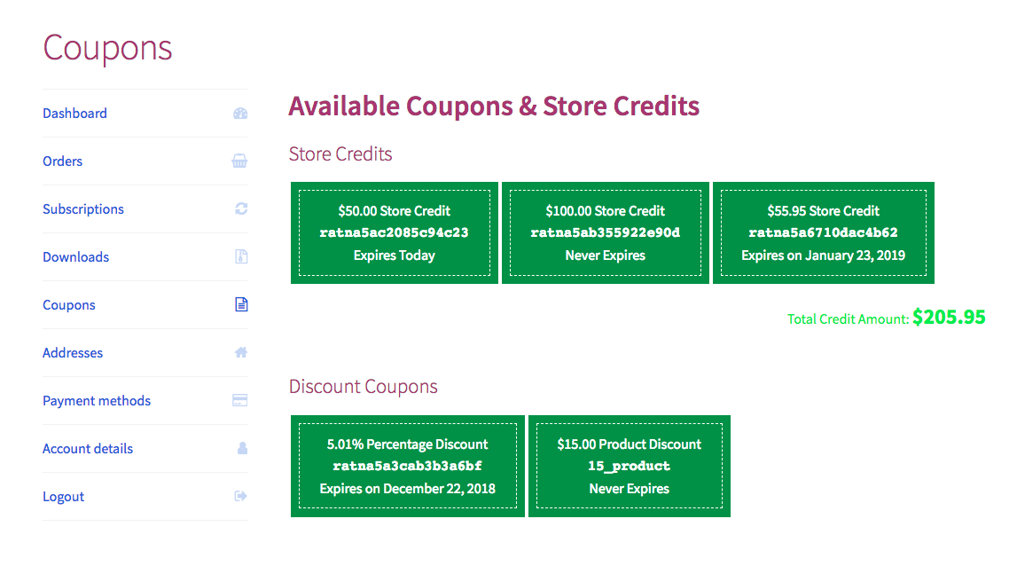 Smart Coupons: My Account